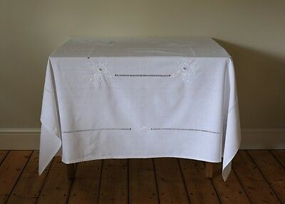 Vintage White Linen Tablecloth Hand Embroidered Flowers Cut Work