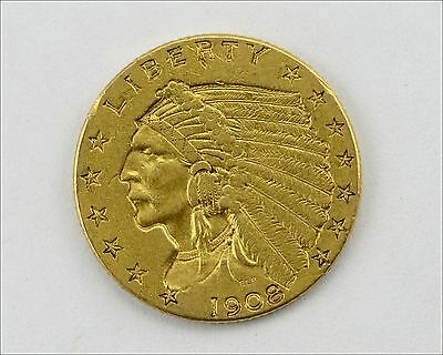 1908 $2 1/2 Dollar United States Indian Head Quarter Eagle Gold Coin
