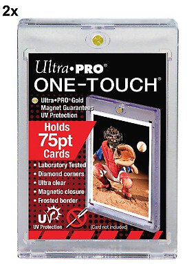 2 ULTRA PRO One Touch Magnetic Holders 75pt UV Gold Magnet New