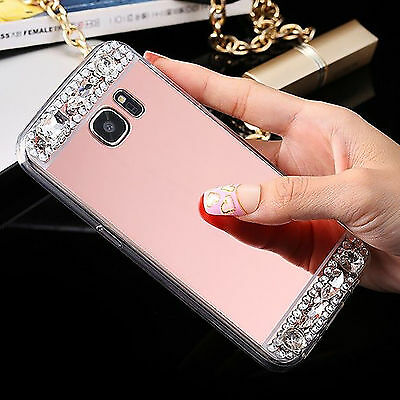 (Rose Gold)For Samsung Galaxy S8 Luxury Crystal Bling Diamond Mirror Back Case
