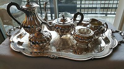 Community Silverplate Melon Coffee Service with Matching Tray
