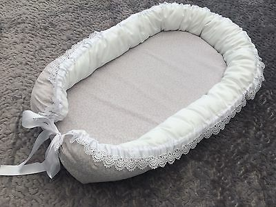 Handmade New Baby Nest, Pod, Bed. Newborn to 6months. Grey & white with lace