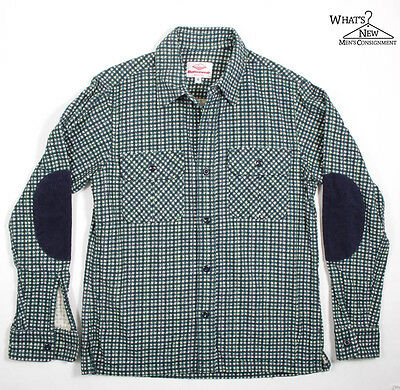 NEW Battenwear Green/White Button Front Flannel Shirt Sz. S *Made In USA*