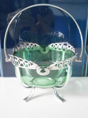 Pretty Silver-Plated Epns Sugar Bowl With Green Glass Liner English 1921-40