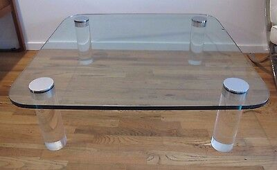 PACE GLASS CHROME & LUCITE COFFEE TABLE cocktail mid century square leon rosen