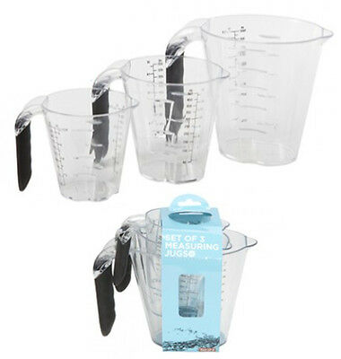 Measuring Jug Set -3 Piece- Ethos Kitchen Microwave Dishwasher Safe Jugs Clear