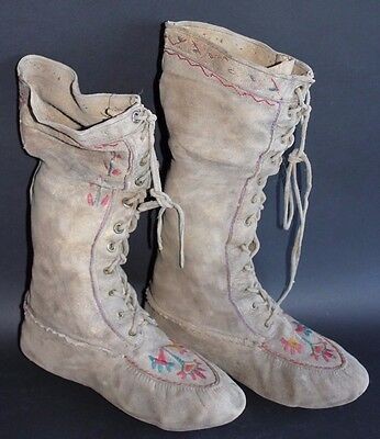 Old Native American Hide Boots with Floral Designs