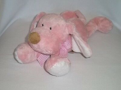 BABY GANZ Plush PINK White PUPPY Dog Rattle Laying Soft Lovey Stuffed Animal Toy