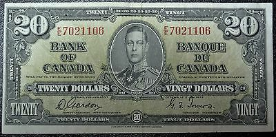 BANK OF CANADA 1937 - $20 BANK NOTE - Prefix E/E - Signed Gordon & Towers