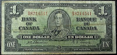 BANK OF CANADA 1937 - $1 BANK NOTE - Prefix D/A - Signed Osborne & Towers