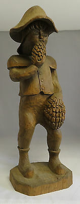 HUGE ANTIQUE BLACK FOREST CARVING WOOD STRANGE MAN FOLK ART home deco cabin 21""