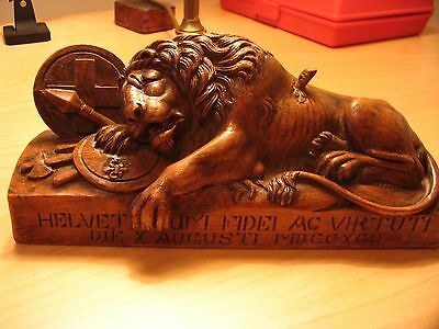 Lion Of Lucerne 19Th Century Black Forest Carving