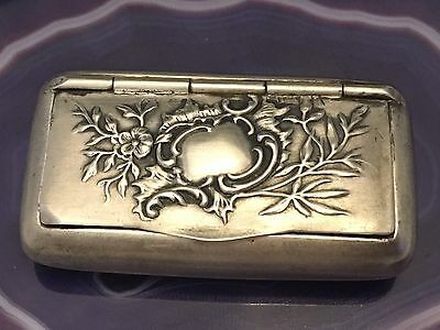 "Beautiful Sterling Silver & Vermeil c1890 Rocaille ""Flip-Top"" Case/Pillbox -L659"