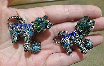 Vintage Pair Of Chinese Export Silver Filigree Mesh Gilt And Enamel Foo Dogs