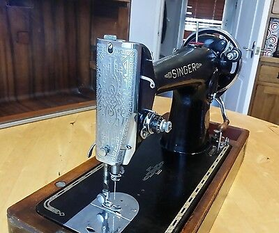 Heavy Duty Semi Industrial Singer 201K Sewing Machine Sews Leather