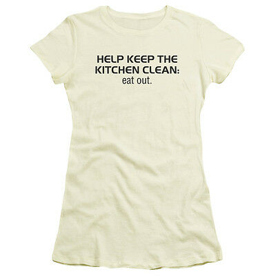 KEEP THE KITCHEN CLEAN, EAT OUT Humorous Juniors Cap Sleeve T-Shirt