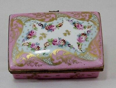 Limoges Sevres Style France Porcelain & Gilt Brass Box, Hand Painted