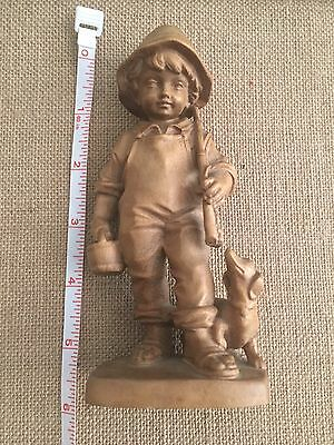 Vintage Carved Wood Figurine of Fishing Boy with Dog ADORABLE!