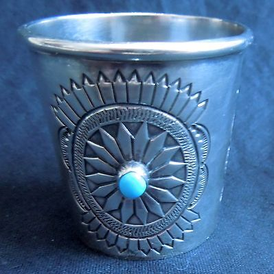 Navajo STERLING & TURQUOISE SHOT GLASS Patrick Yellowhorse 72.1 Grams