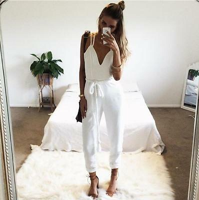 Women's Summer Solid Sleeveless Jumpsuit Trousers Clubwear Playsuit Romper