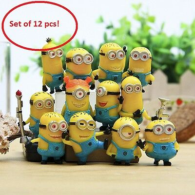 New 12pcs Minions Action Figures Despicable Me Movie Character Doll Toy Cute