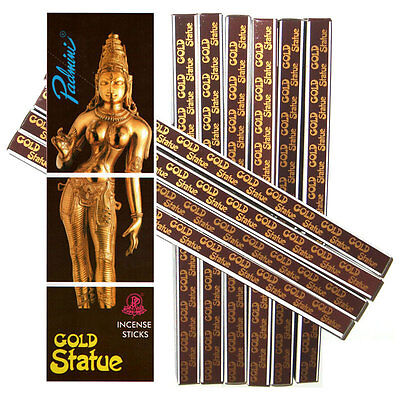 Padmini GOLD STATUE Incense 8g Square Box of 10 Packets (80 Sticks)