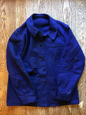 French chore coat work wear blue jacket Bill Cunningham mens size M / L vintage