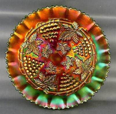 CARNIVAL GLASS - NORTHWOOD GRAPE & CABLE Green Pie Crust Edge Bowl 3694
