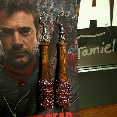 *Blood Drenched* Negan Lucille Bat Prop/Replica ***Earrings*** ~~TWD~~***NEW***