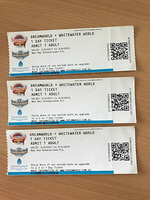 Tickets DREAMWORLD and WHITEWATER WORLD Day Tickets x3 valid until 5/4/2018