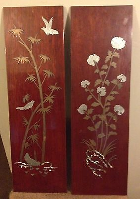 Japanese Showa Period Mixed Metal Mother of Pearl Inlaid Lacquer Wood Panel Pair