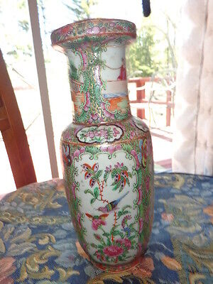 FAMILLE ROSE, CANTON DYNASTY,  ANTIQUE 19th,C. VASE HAND PAINTED, FLOWERS, ETC