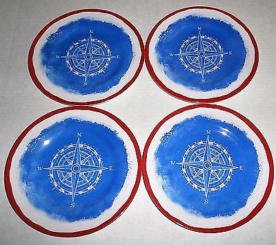 "NAUTICAL MELAMINE PLATES  Set of 4  8.5"" Diameter"