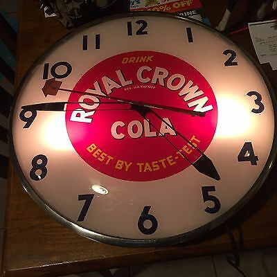 Royal Crown Cola Vintage Advertising, Bubble Glass/Lighted Clock