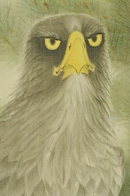 Hanging Scroll Japanese Painting Hawk Picture Pine Ink Antique Japan Pic b290