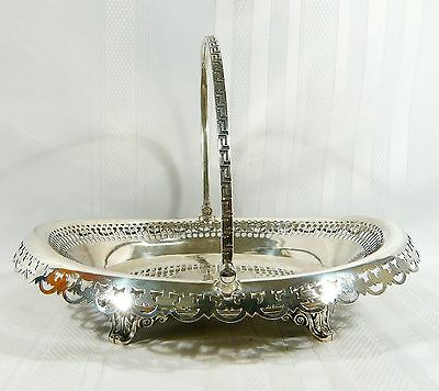 """1860 Silver Plate Footed  Basket Edward Cogswell """" Marshlands Inn """" N.S. Canada"""