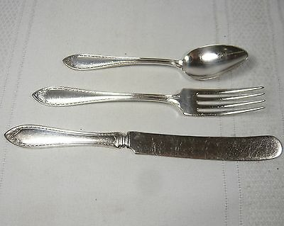 Community SILVER Plate 1910 SHERATON 3 piece Youth Child Set KNIFE FORK SPOON
