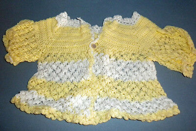 Vintage 1970 Hand Crochet Baby Sweater Yellow and White