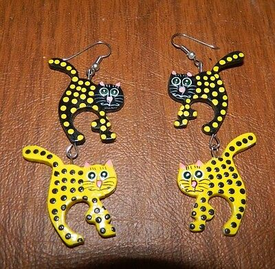 Black & Yellow Dotted Painted Wood Cats Pierced Earrings made in Indonesia