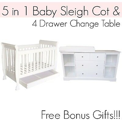 5 in 1 Dropside Baby Sleigh Cot and 4 DRAWER WHITE Change Table Package