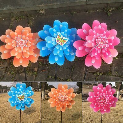 Butterfly Peony Flower Colourful Wind Spinner Windmill Home Garden Decoration