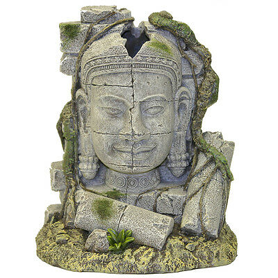 Ancient Stone Head Ruin Bubbler Aquarium Decoration Fish Tank Biorb Ornament