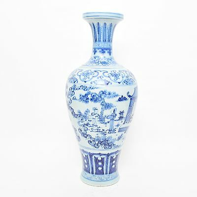 Beautiful Chinese Porcelain Blue and White Figural Vase