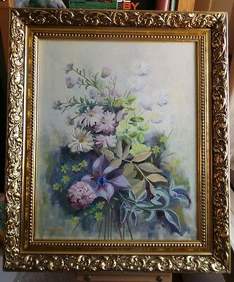 20th CENTURY IMPRESSIVE OIL PAINTING ON CANVAS. Still life, flowers - signed.
