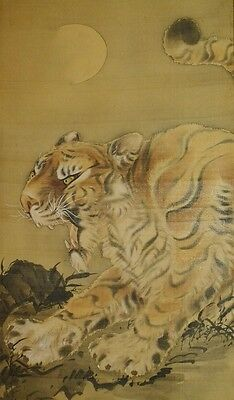 Tiger Hanging Scroll Japanese Painting Japan Antique Asian Art ink Picture a186