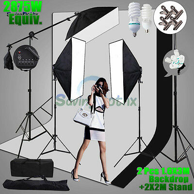 Photo Studio 2875W Softbox Continuous Lighting Boom arm Backdrop Light Stand KIT