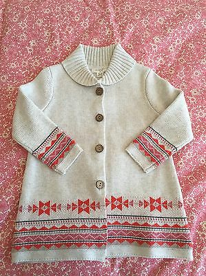 purebaby girls Navajo long Cardigan Size 2 (18-24 months) New With Tags