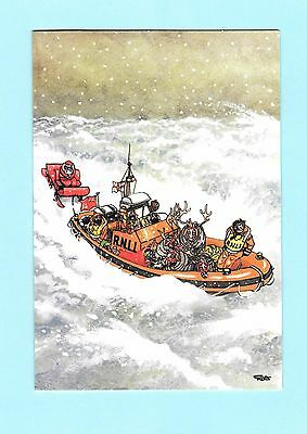 Giles Christmas card – RNLI – Santa being towed by lifeboat