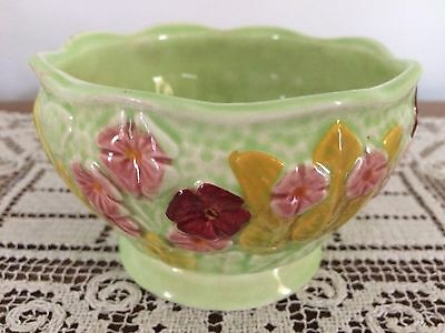 Vintage Melba Ware Sugar Bowl,  green with pink and berry flowers, yellow leaves