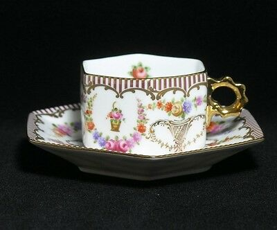 Beautiful Orchid Fine Porcelain Miniature Cup n Saucer Trio for Gift Collectors